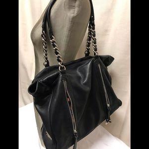 Makowsky large shoulder bag with leopard inserts